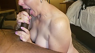 Wife gets a mouthful of her BBC husbands cum