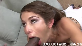 I can barely even fit his big black cock in my tight white p