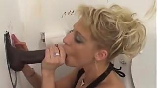 White wife cheating with black cock at gloryhole