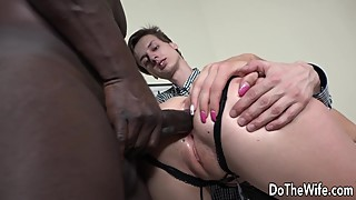 A Black Guy Jams His Huge Dick Up a White Wifes Ass While Her Pathetic Hubby Watches