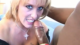 Cheating MILF housewife fucks hung black cock in black lingerie