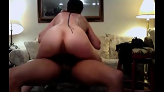 Leashed mature wife riding a black bull