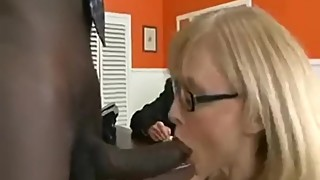 Office interracial in front of husband