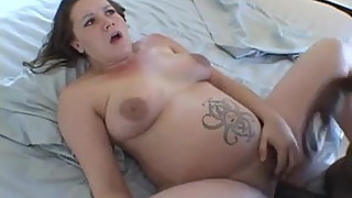 Preggo Angel screwed by a dark boyfriend