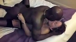 Black bull passionately impregnating a white hotwife while husband films