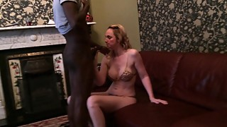 Mature blonde shy wife sucking her first black cock