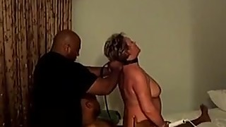Kinky wife in hotel room with two black men hubby filming