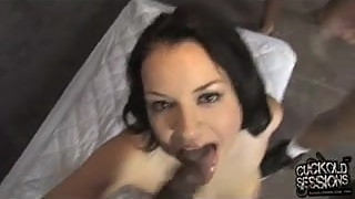 Tied cuckold watching his wife owned by black gang