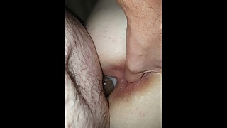 Wife taking BBC dildo is creamy pussy from behind