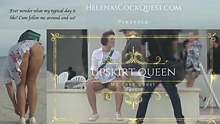HelenasCockQuest - Upskirt Queen Flashing Bush On Boardwalk